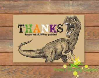 Dinosaur Birthday Party Thank You Card • Custom • Print Yourself or Here For about Buck!