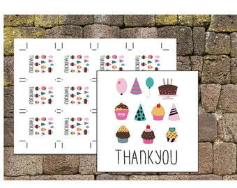 Downloadble Favor Tags - Cupcake Thankyou Tags Downloadable - Printable Thankyou Tags - Favor Thankyou Tags