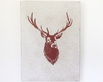 Deer trophy - Woodcut ready to hang on the wall