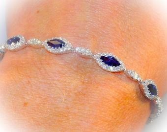 Sapphire Diamond Bracelet 6.13ct Brilliant Natural Marquise Cut Sapphires Natural round Diamonds Bracelet 18k White Gold Anniversary Wedding