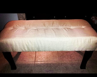 Upholstered Bench or Ottoman with Fabric Covered Tufted Buttons in Sand Color Fabric