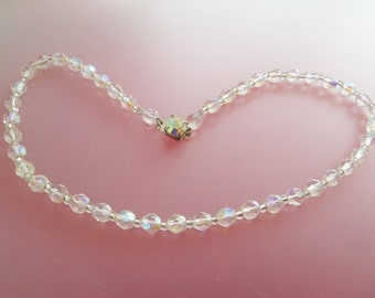 Vintage Aurora Borealis Crystal Bead Choker Necklace with Aurora Borealis Rhinestone Clasp