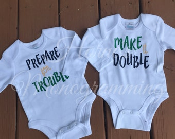 """TWINS Set of """"Prepare for trouble-Make it Double"""" Onesie bodysuits HTV"""