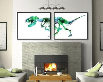 Green Dinosaur Art Print Watercolor Trex Bones Watercolor Dino Painting Print - Set of 2 Prints - 426