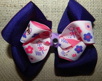 Purple and Pink Princess Fairy Boutique Hair Bow, Purple Hair Bow, Princess Hair Bow, Fairy Hair Bow, Girls Hair Bow, Flower Hair Bow, Bows