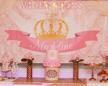 Princess Party Backdrop- pink and gold crown (choose your size)