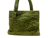 """Sale!!! Green Leather bag. """"Wrinkled"""" leather Tote. Premium distresssed leather. Handmade leather tote bag"""