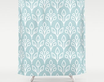 Blue Patterned Shower Curtain