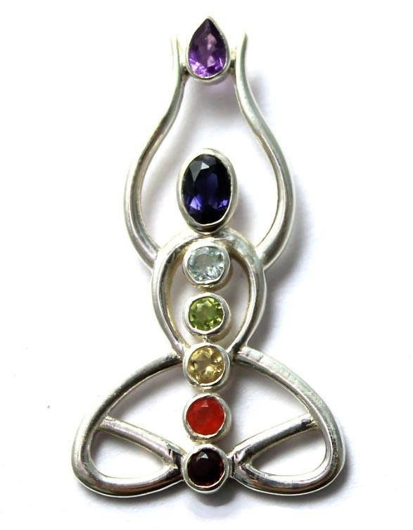 yogi chakra pendant handmade in sterling silver with 7