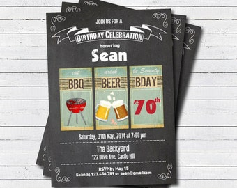 70th BBQ birthday invitation. BBQ beer party Adult 70th birthday chalkboard. Eat drink and be 70 printable digital invite. AB015