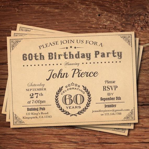 60. geburtstag einladung mann. retro vintage meilenstein 30., Einladung
