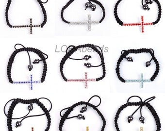 1pc Assorted Cross Stylish Crystal Rhinestone Hematite Bangle Bracelet