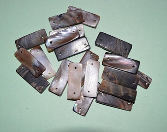 Vintage Brown Lip Shell Rectangle Links - Lot of 20 (2041570)*
