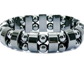 MEN'S Hematite Bracelet, Hematite Bracelet, Hematite Beads Bracelet, Men's Stretch Bracelet, Mens Beaded Bracelet, Grey Bracelet Men