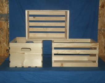 "Rustic 18"" wooden storage crate,wood crate, wooden box, wooden crate, storage crate, UNFINISHED"