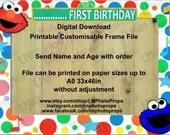 Sesame Street Frame - Customised Photo Prop, Sesame Street Theme Party, Children's Party, Kids Party, Elmo Digital Download DIY Printable