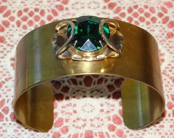 Vintage Gold Tone Cuff Bracelet with Faux Emerald on the front
