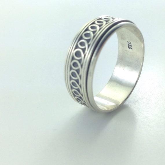 Sterling Spinner Ring Size 13 Mens Silver Band Vintage