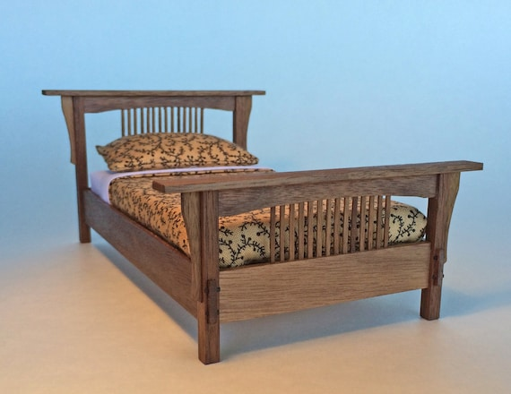 Stickley inspired bed in walnut 1 12 scale arts and crafts for Arts and crafts beds