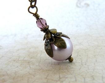 Mauve Pearl Necklace, Pale Lavender Vintage Style Pendant, Fairytale Inspired Romantic Jewelry, Mauve Glass Pearl Pendant