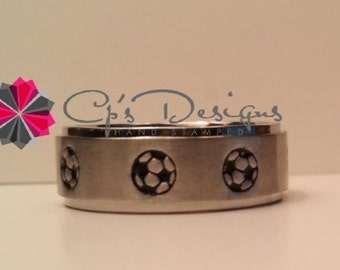 Hand stamped Stainless Steel Soccer ring, Comfort fit band, 6mm, Sizes 3-16, Your color choice