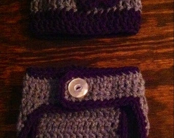 Newborn Crochet Diaper Cover and Beanie Cap Set or Gift Set