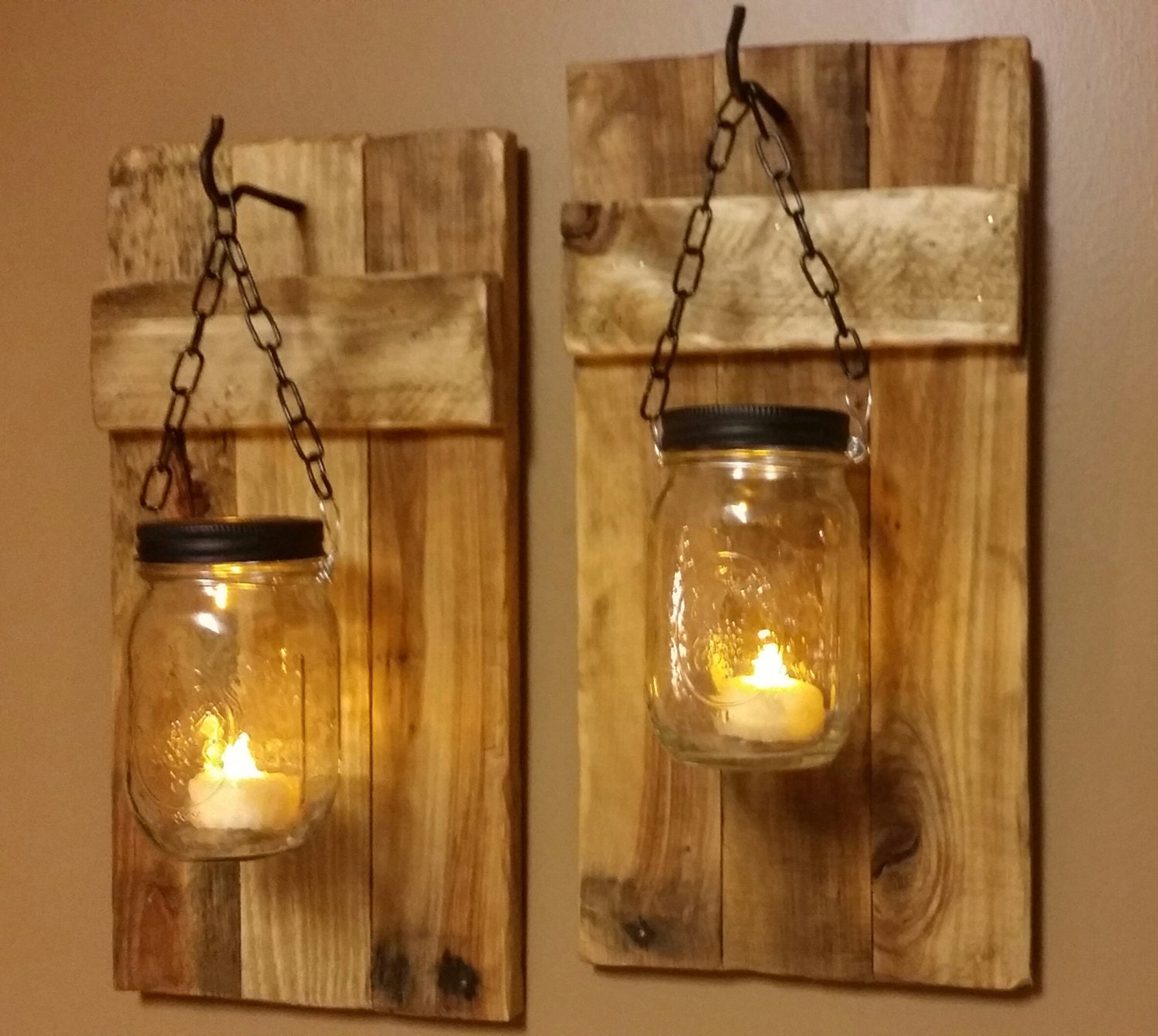 mason jar candle holder rustic decor set of 2 rustic. Black Bedroom Furniture Sets. Home Design Ideas