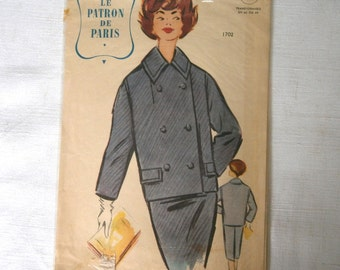 French vintage dressmaking pattern. by Le Patron de Paris. Unused from the1950's European size 44