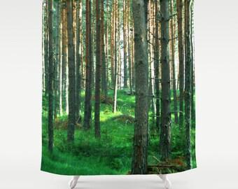 shower curtain, bathroom decor, modern shower curtain, photo curtain, woodland curtain, tree trees branches green curtain green decor