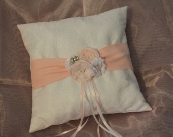 Ring Bearer Pillow, Pink Ring Bearer Pillow, Pink Ring Pillow, Shabby Chic Ring Pillow, YOUR CHOICE COLOR