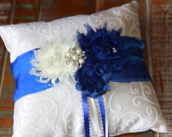 Ring Bearer Pillow, Royal Blue Ring Bearer Pillow, Shabby Chic Ring Bearer Pillow, Something Blue Ring Pillow, YOUR CHOICE COLOR
