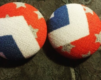 4th of July Button Earrings