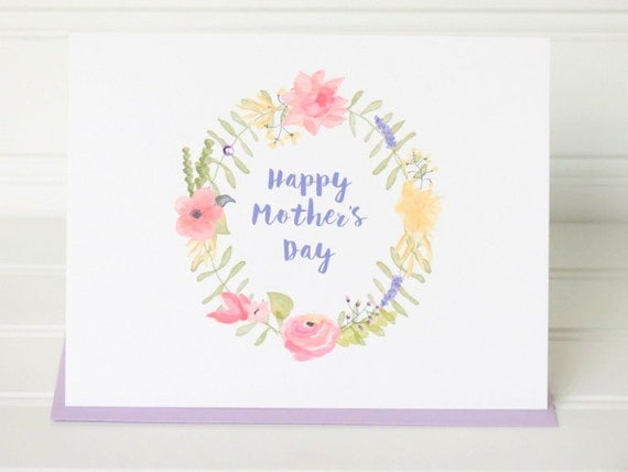 Mother's Day Greeting Card with Lilac Floral Wreath, Matching Colored Envelope, Seal, Postage Stamp, and Personalized for the Recipient