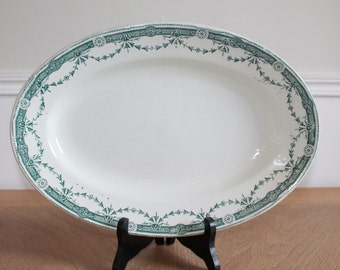 LARGE Serving Platter, French Provincial, Oval Platter, Green Transferware, White Ironstone Platter, French Pottery, Farmhouse Antiques