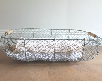 LARGE Wire Laundry Basket, French Wire Basket, Farmhouse Antiques, Antique Baskets, Clothes Basket, Storage basket, Apple Crate, Home decor