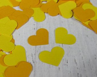 500 Yellow Heart Confetti - Yellow Wedding Decor - Yellow Party Decoration - Spring Table Confetti