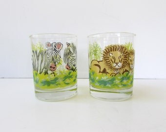 Mid Century Barware - Two Safari Animal Tumblers - Lion Low Ball  - Zebra Low Ball - Old Fashioned - Rocks - Whiskey Glass