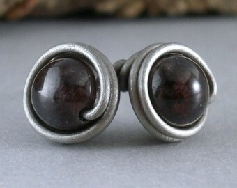 Sterling Silver Garnet Earrings Wire Wrapped Studs Hypoallergenic Titanium Posts Red Earring Dark Red Gemstone Studs Wire Gems