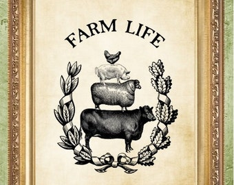 Farmhouse Decor Cow and Chickens Prints Kitchen Art Prints Farmhouse Prints Farm Life Prints