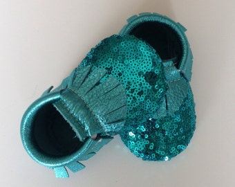 Turquoise Sequins Baby Moccasins