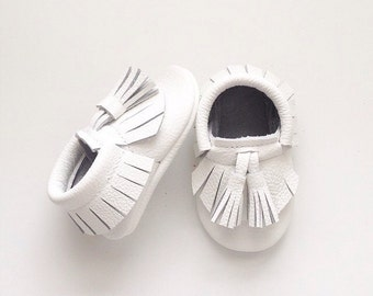White Moccasins with Tassels