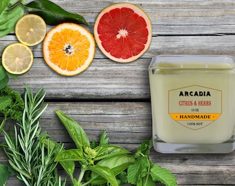 Citrus & Herbs candle, Kitchen candle, Scented container candles, Hand poured soy candles, Double wick, Cotton wick
