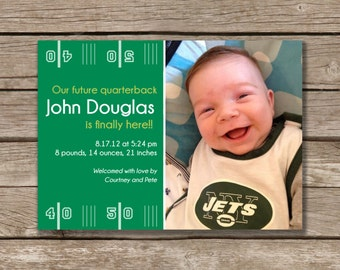 Future Quarterback Baby Announcement, Printable, Baby Boy, Digital File, Photo Card, Made to Order
