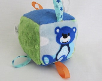 Soft Toy Block - Sensory Toy - Nursery Toy - Soft Toy With Rattle - Royal Blue and Lime Green Toy Block