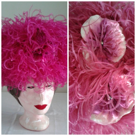 Pink 1960 s vintage hat feather flower suzy lee the garden party fancy