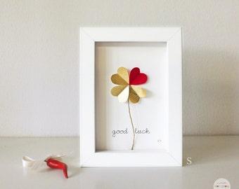 Graduation Gift Best Friend gift, New Home Gift, New Job gift - Picture frame good luck - Cloverleaf of hearts - 3D - gold-leaf - art frame