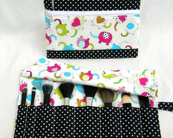 Makeup double zippered pouch with makeup brush roll.  Crystal beads zip pulls. Cosmetics pouch
