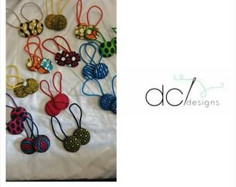 Ankara / African Wax Print Button Hair tie / Hair band. * 2 Per Set*