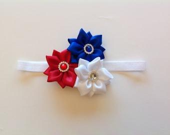 Celebrating Fourth of July Flower, 4th July Baby Headband, USA Flag Kanzishi Flower, Kanzishi Flower Baby Headband