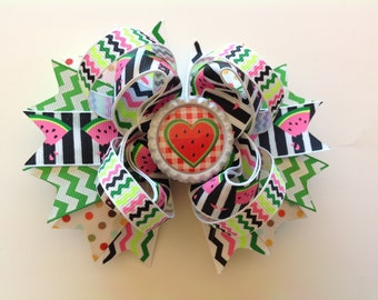 Summer - Watermelon Hair Bow, Stacked Hair Bow, Girls Boutique Hair Bow